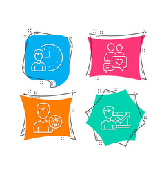 Dating chat working hours and person idea icons vector
