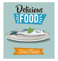 Delicious food fish seafood gourmet menu vector