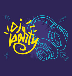 dj party poster design with a headphones and hand vector image