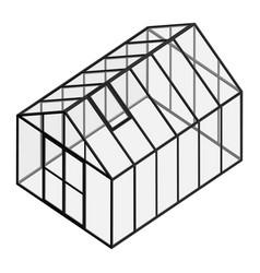Empty greenhouse with closed door vector