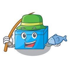 Fishing cartoon tissue box on a sideboard vector