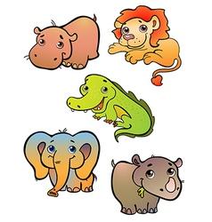 Five african animals vector