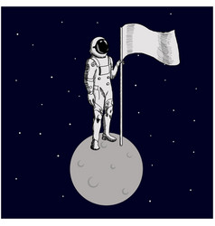 flat design astronaut stand on moon with a vector image