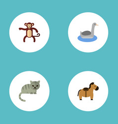 flat icons kitty waterbird pony and other vector image