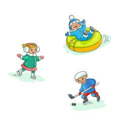 flat kids doing winter outdoor sport set vector image