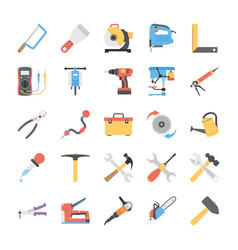 Flat power tools icons set vector