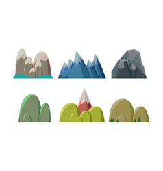 Flat set of colorful hills and rocky vector