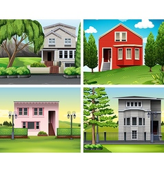 Four scenes of houses and lawn vector