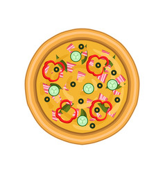 freshly baked pizza with salami cucumber ham vector image