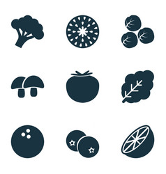 fruit icons set with acorn coco spinach and vector image