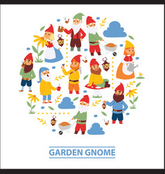 garden gnome beard dwarf characters wallpaper and vector image