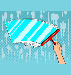 Hand clean window pop art vector