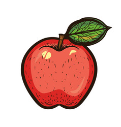 Hand draw colored sketch red apple with leaf vector