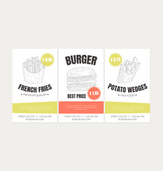hand drawn fast food restaurant street vector image