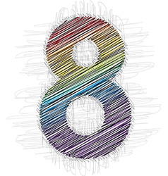 Hand drawn font NUMBER 8 vector