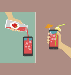 hand pours juice into smartphone and holding it vector image