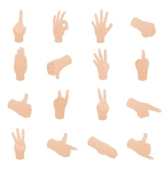 Hand set in isometric 3d style vector