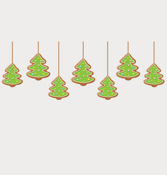 hanging gingerbread christmas trees cookies vector image