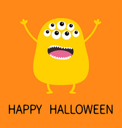 happy halloween yellow monster silhouette cute vector image