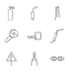 Hard worker icons set outline style vector