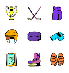 hockey stadium icons set cartoon style vector image