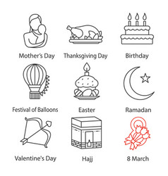 Holidays linear icons set vector