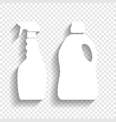 Household chemical bottles sign white vector