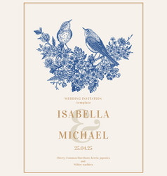 invitation with birds and flowers vector image