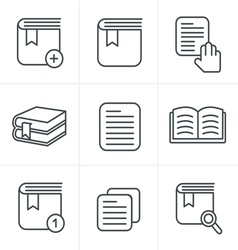 Line Icons Style Book Icons Set Design vector