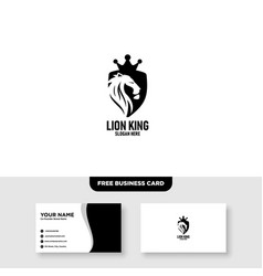Lion king logo design free business card template vector