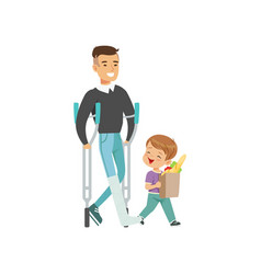 little boy helping disabled man carry shopping bag vector image