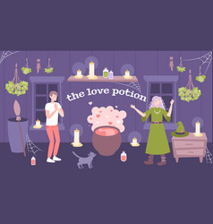 Love spell flat composition vector