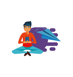 Man sitting with smartphone and airplane paper vector
