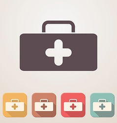 Medical bag flat icon set in color boxes with vector image