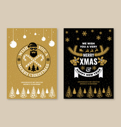 merry christmas and happy new year poster flyer vector image