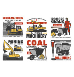 Mining industry isolated icons vector