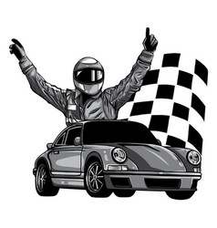 Monochromatic a race car vector