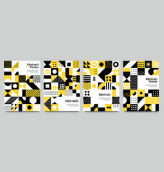 neo geometric posters modern grid pattern with vector image