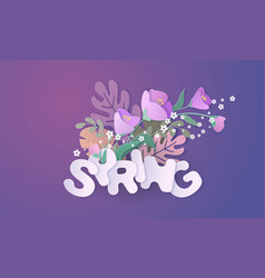 paper cut 3d flowers banner in purple colors vector image