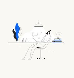 person computer desk home freelance work vector image