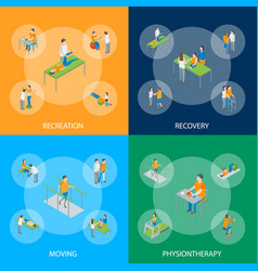 Physiotherapy people banner set 3d isometric view vector