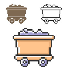 Pixel icon coal wagon in three variants fully vector