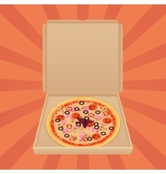 Pizza in paper box isolated Pizza delivery box vector image