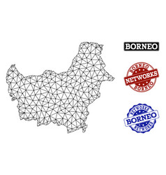 Polygonal network mesh map of borneo island vector