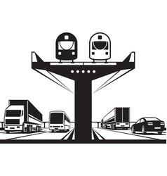 railway flyover above highway vector image