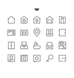 Real estate outlined pixel perfect well-crafted vector