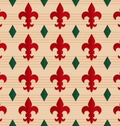 Retro fold red Fleur-de-lis and green diamonds vector