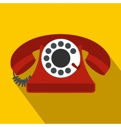 Retro red telephone flat icon vector image