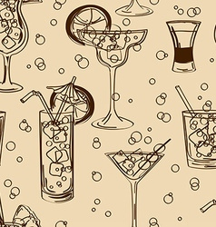 Retro seamless pattern of cocktails vector image