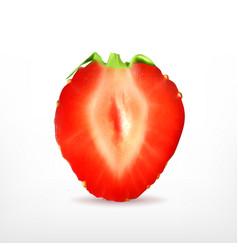 Ripe strawberry slice vector